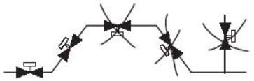 Схема расположения клапанов ДУ65-200 на трубопроводе